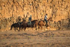Northern Tuli Botswana horse riding under cliffs