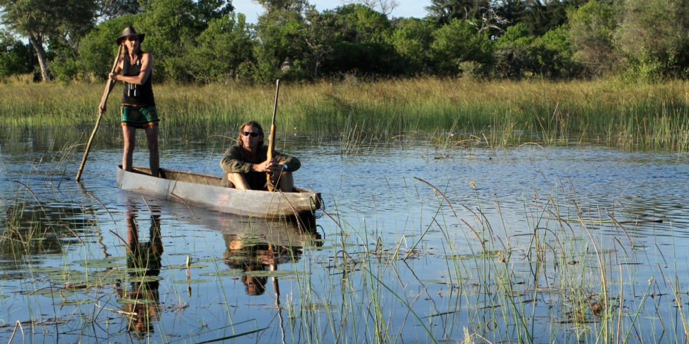 OGS-Poling mokoros dug out canoe in the Delta