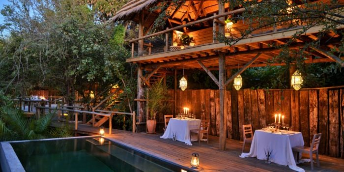 chobe bakwena lodge pool night
