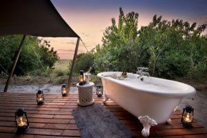 linyanti bush camp honeymoon bathtub