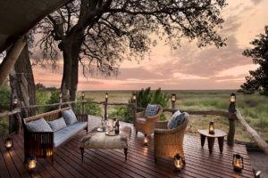 linyanti bush camp lounge area