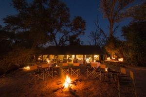 machaba camp fireplace night