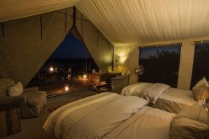 machaba camp tent interior night