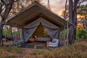 machaba camp tent outside sunset