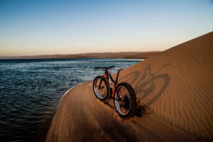 namibia fat bike bike at water