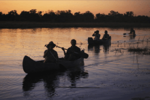 selinda spillway canoe safari down river sunset