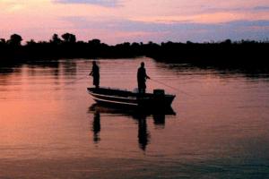 sunset fishing okavango delta botswana panhandle