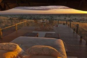 tswalu kalahari sleepout deck sunset