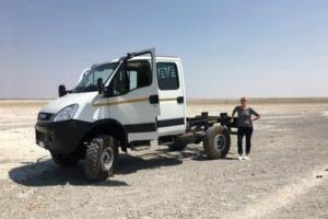 1474810343540Super model AnnCat posing with the beast on the edge of the Makgadigadi Pans Botswana.