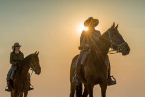 Makgadikgadi Botswana horse riding over salt pans