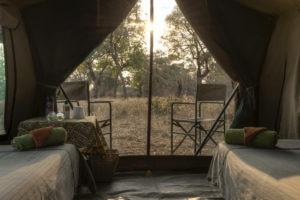 camp chitake mana pools bed view
