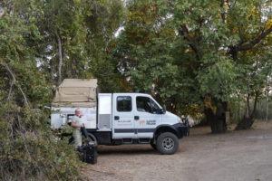 the frankmobil camp set up in bush