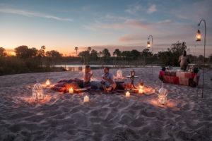 zambia livingstone sandbar dinner setup