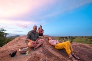 wayo walking camp serengeti guests sundowner