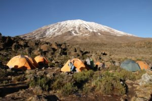 kilimanjaro climbing tents view mountain
