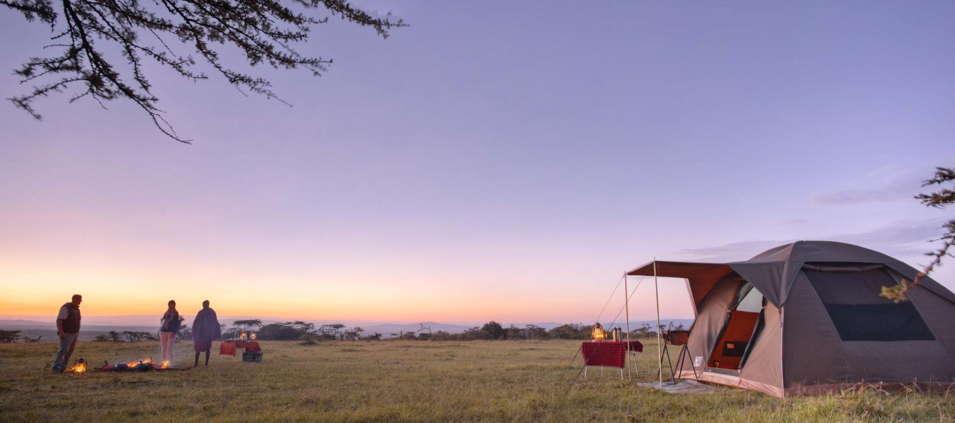 Encounter Mara Flycamp sunrise over conservancy